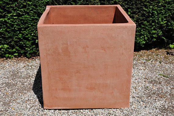 Terracotta pot vierkant cubo quadrato liscio