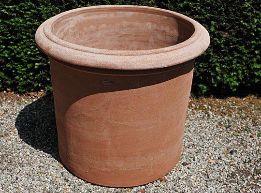 Terracotta pot vaso cilindro con bordo