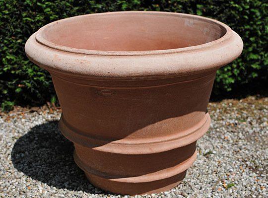 Terracotta pot vaso con due orli